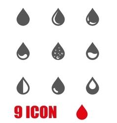 Grey drop icon set vector