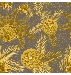 Seamless pattern with fir-cone christmas tree vector