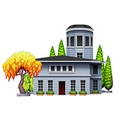 A building surrounded with plants vector