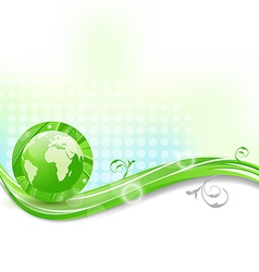 Background with global planet and eco green leaves vector image