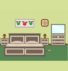 Bedroom interior with a furniture including bed vector