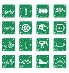 Biking icons set grunge vector