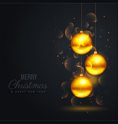 black background with golden snowballs and bokeh vector image vector image