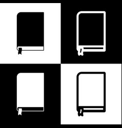 Book sign black and white icons and line vector