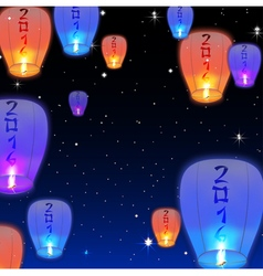 Chinese lanterns background vector image vector image