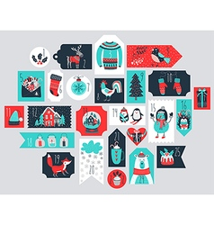 Christmas advent calendar hand drawn style vector
