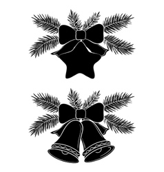 Christmas bells and star vector image vector image