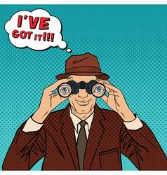 Detective with Binoculars Man in Hat Pop Art vector image