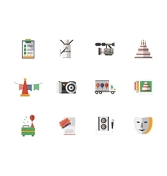 Event services flat color icons set vector image vector image