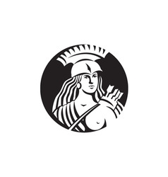 Female spartan warrior circle black and white vector