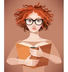 Girl with glasses reading a book vector