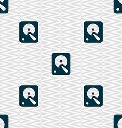 Hard disk icon sign seamless pattern with vector