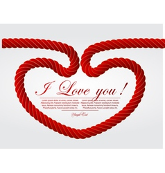 Heart shaped knot on a rope vector