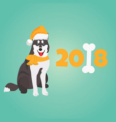 holiday husky christmas or new year background vector image