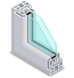 Home clear glass window cross section frame vector