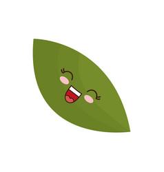 Kawaii leaf icon vector