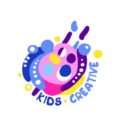 kids creative logo design colorful labels and vector image