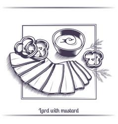 Lard with mustard black vector