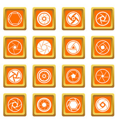 Photo diaphragm icons set orange vector