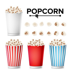 popcorn cup set realistic classic cup full vector image vector image