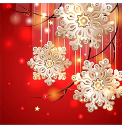 Red Christmas Card with gold snowflakes vector image