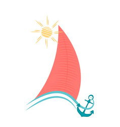 Sailboat on waves with an anchor maritime concept vector