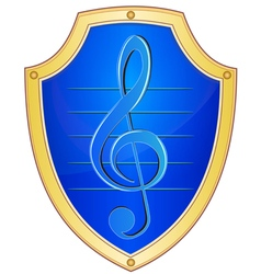 Shield with treble clef vector