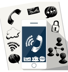 Smart Phone Mobile with doodle sketch vector image