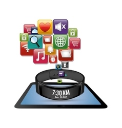 Smart wristband tablet innovation digital icon vector