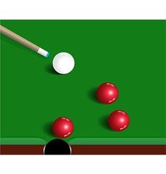 Snooker balls on green snooker table sport game vector