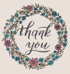 Thank you card with floral background artwork vector
