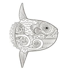 Underwater moon fish in zentangle style vector