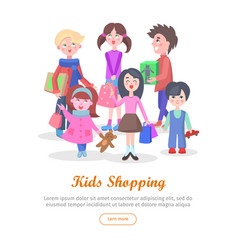 kids shopping conceptual flat web banner vector image