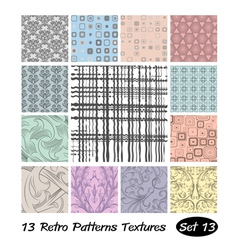 13 retro patterns textures set 13 vector