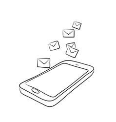 Smart phone with envelopes or e-mail vector