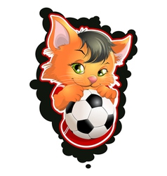 Cat and football vector