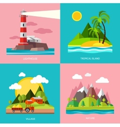 Nature various subjects lighthouse island farm vector