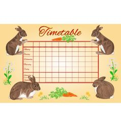 Timetable weekly schedule with rabbits vector