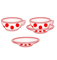 Cup with saucer with red dots part of porcelain vector
