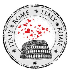 Grunge love heart stamp with colosseum and the vector