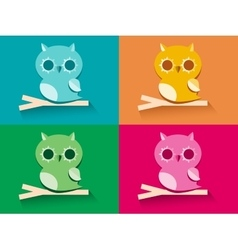 Owl sitting on tree branch vector