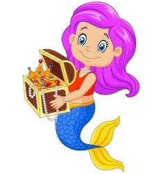Cartoon happy mermaid holding treasure chest vector