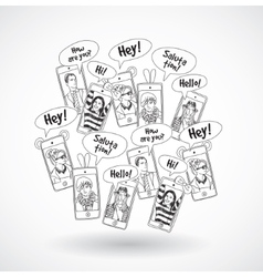 Mobile phones group happy communication people vector