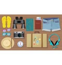 Set of travel exploring equipment stuff and tools vector