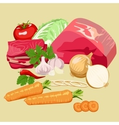 Set of meat and vegetables vector