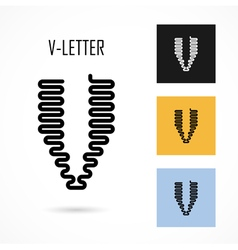 Creative v - letter icon abstract logo design vector