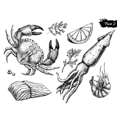 Hand drawn seafood set vintage vector