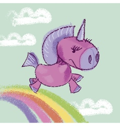 Kiddy unicorn in the sky on rainbow vector