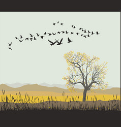 Autumn migration of wild geese vector