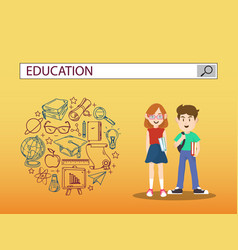 Boy and girl with education search engine bar vector